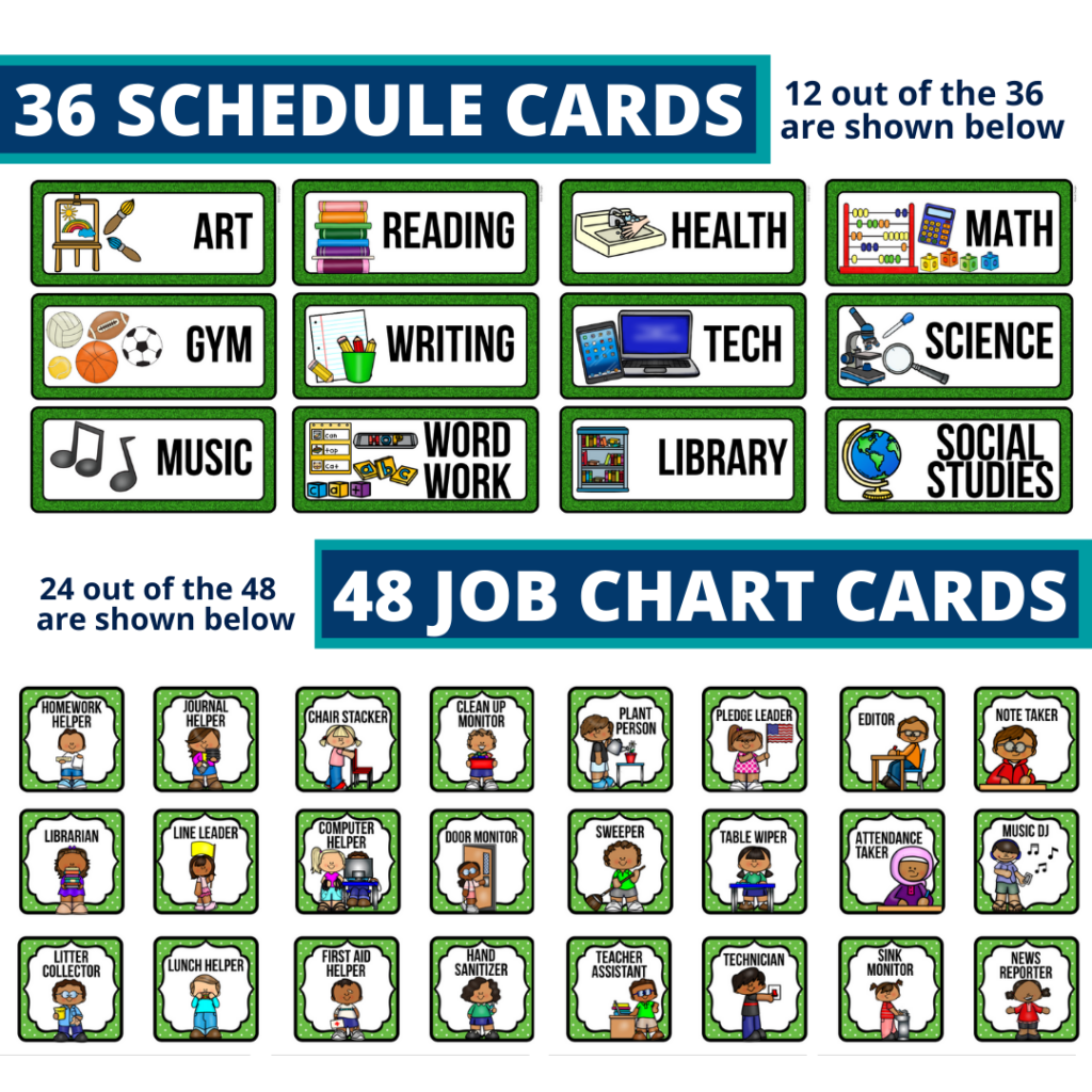 editable elementary schedule cards and job chart labels with a sports theme