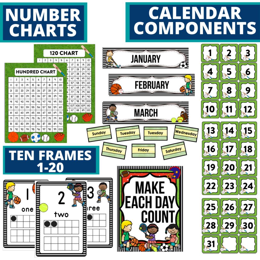 DIY printable classroom calendar for elementary teachers using a sports classroom theme