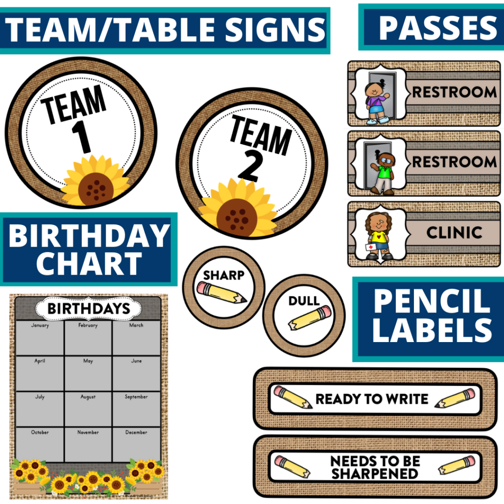 printable and editable sunflower theme classroom decor packets
