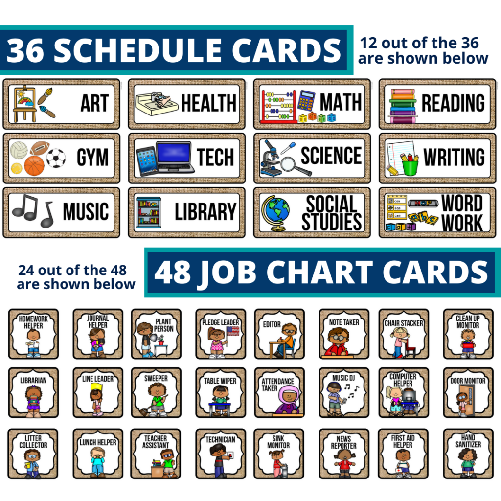 editable elementary schedule cards and job chart labels with a sunflower theme