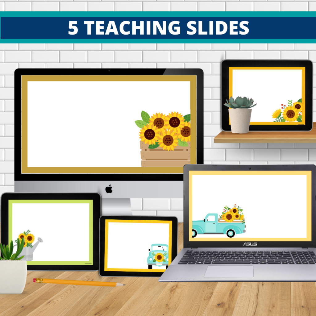 sunflower theme google classroom slides and powerpoint templates for elementary teachers shown on computers