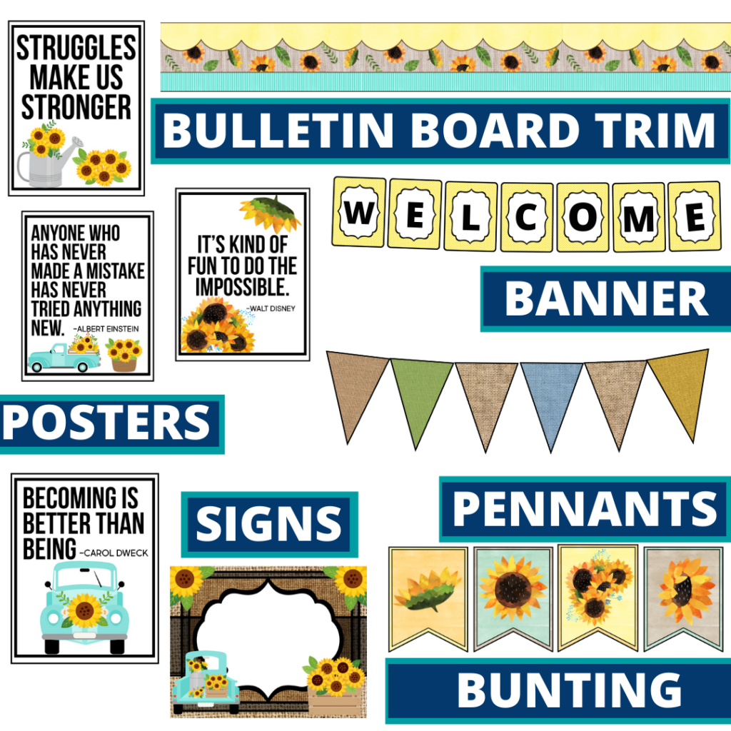 sunflower theme bulletin board trim with pennants, banner and bunting