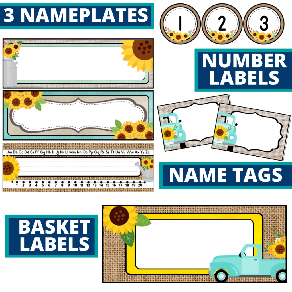 editable nameplates and basket labels for a sunflower themed classroom