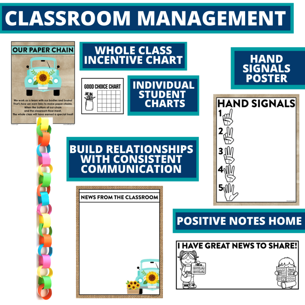 sunflower themed tools for improving student behavior in an elementary classroom
