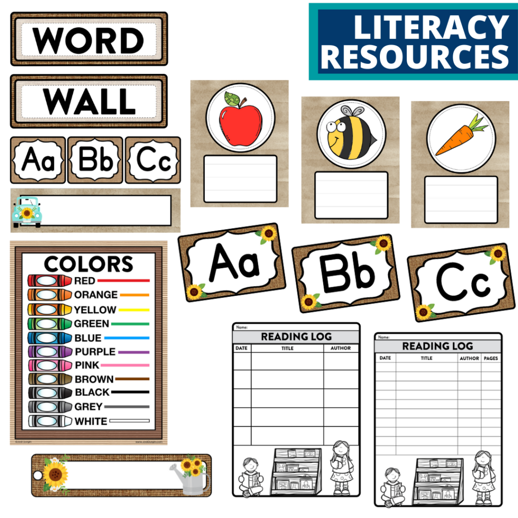 elementary classroom word wall and reading logs for a sunflower themed classroom