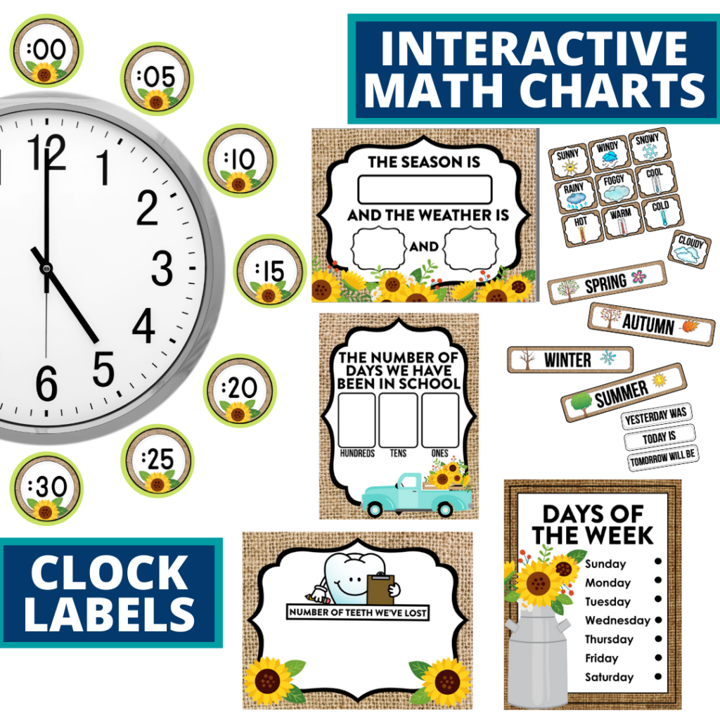 sunflower themed math resources for telling time, place value and the days of the week