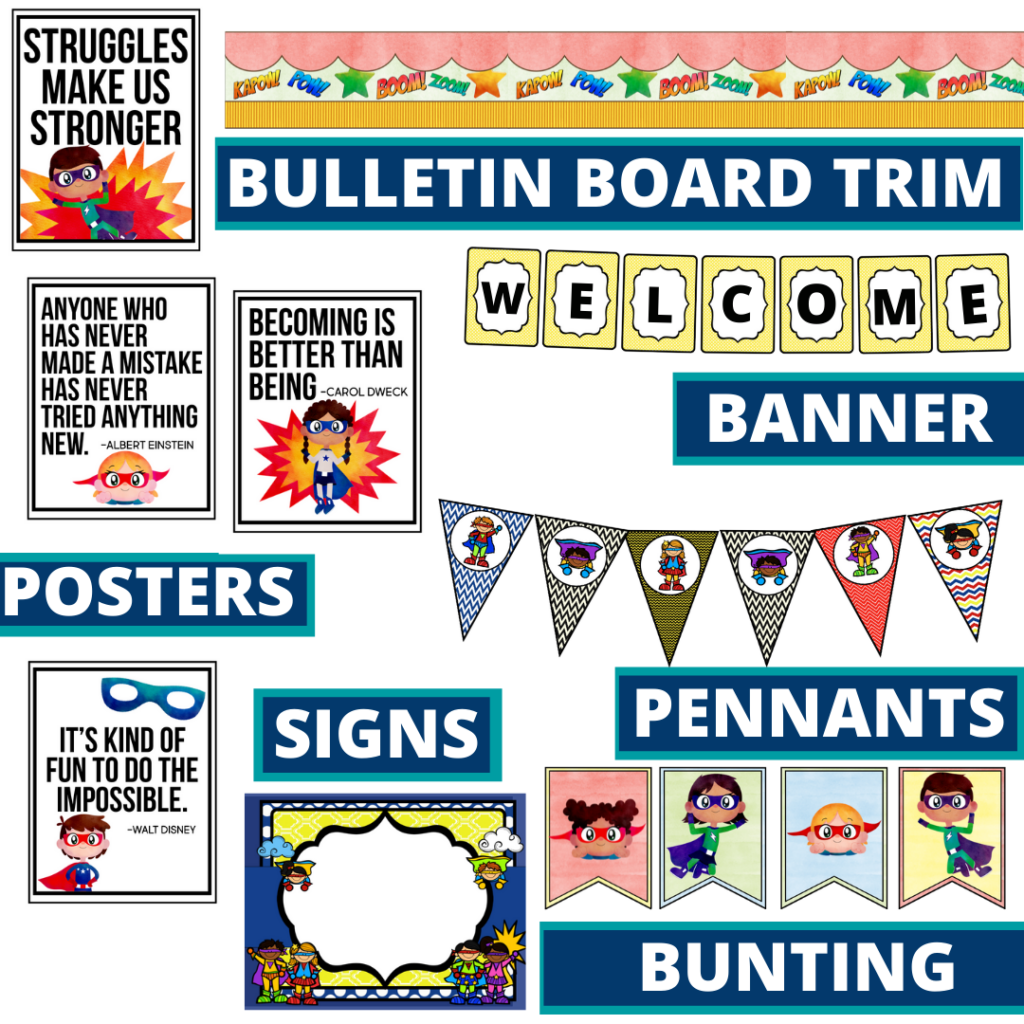 superheros theme bulletin board trim with pennants, banner and bunting