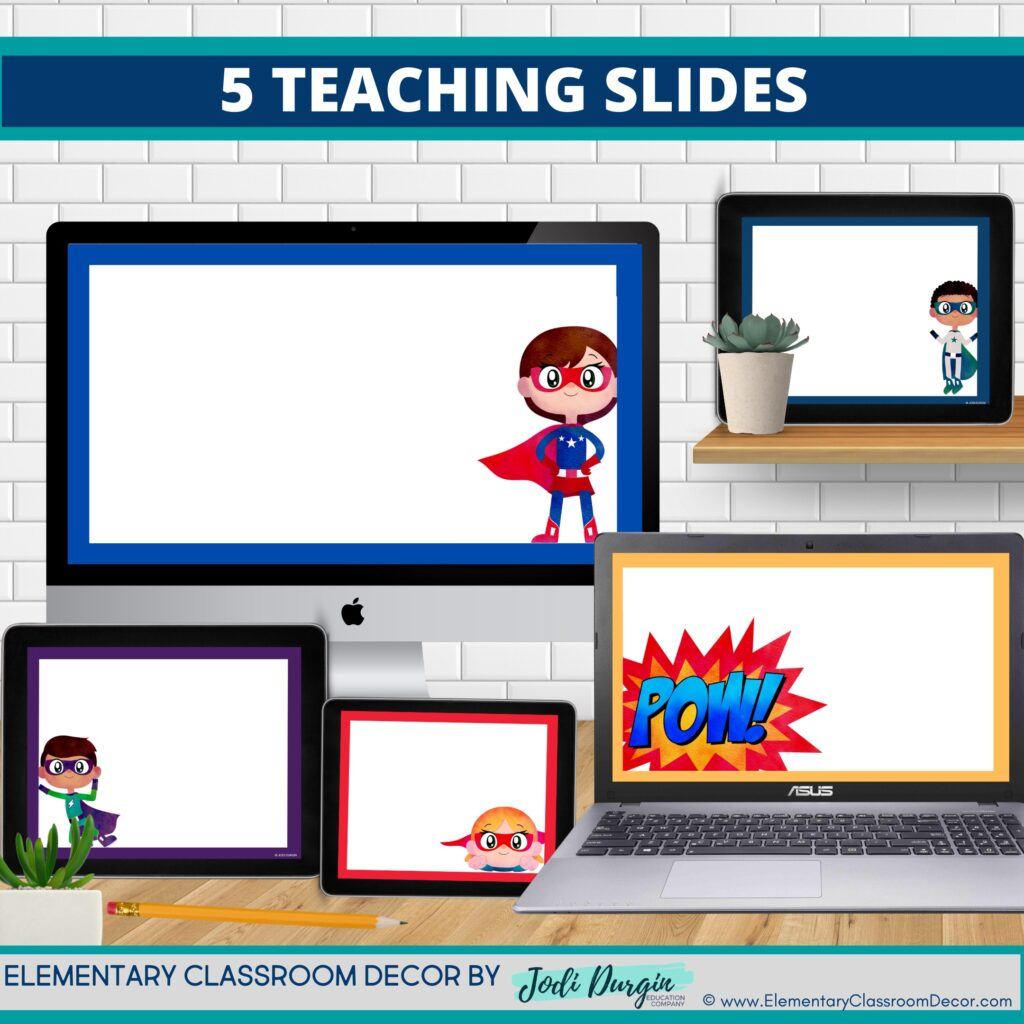 superheroes theme google classroom slides and powerpoint templates for elementary teachers shown on computers