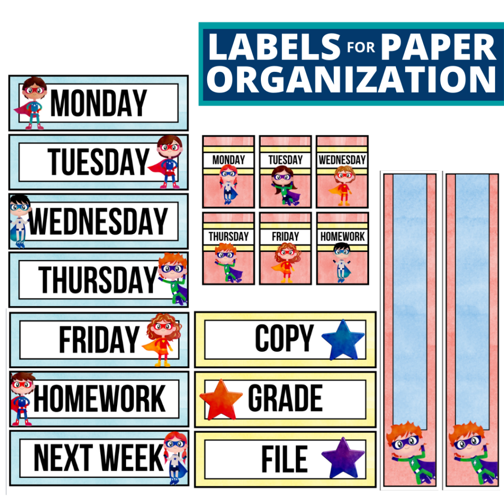 superheros theme labels for paper organization in the classroom