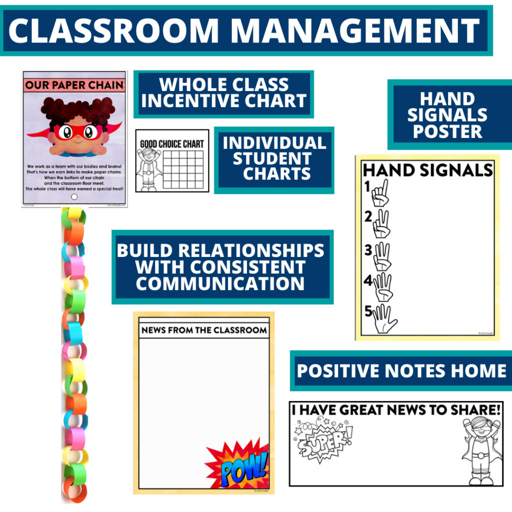 superheros themed tools for improving student behavior in an elementary classroom