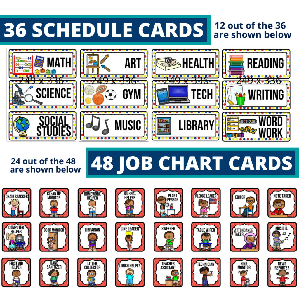 editable elementary schedule cards and job chart labels with a superheroes theme