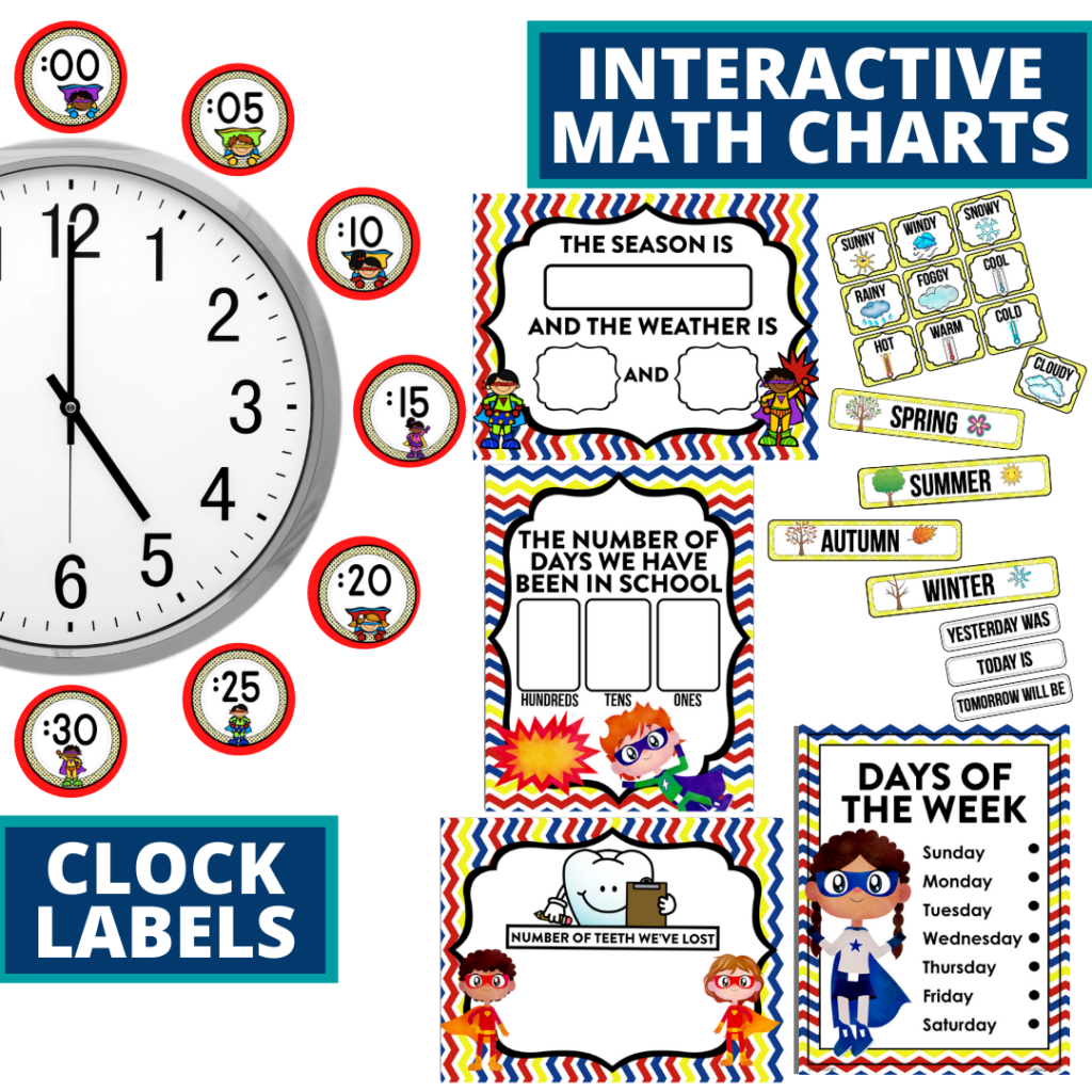superheroes themed math resources for telling time, place value and the days of the week