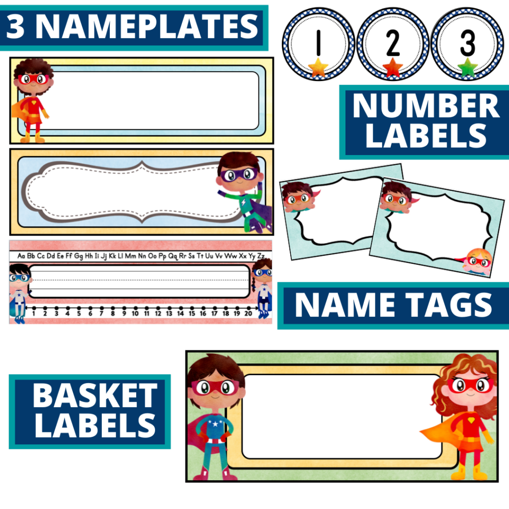 editable nameplates and basket labels for a superheroes themed classroom