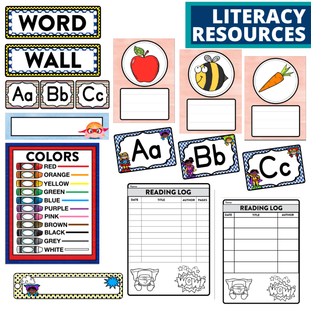 elementary classroom word wall and reading logs for a superheroes themed classroom