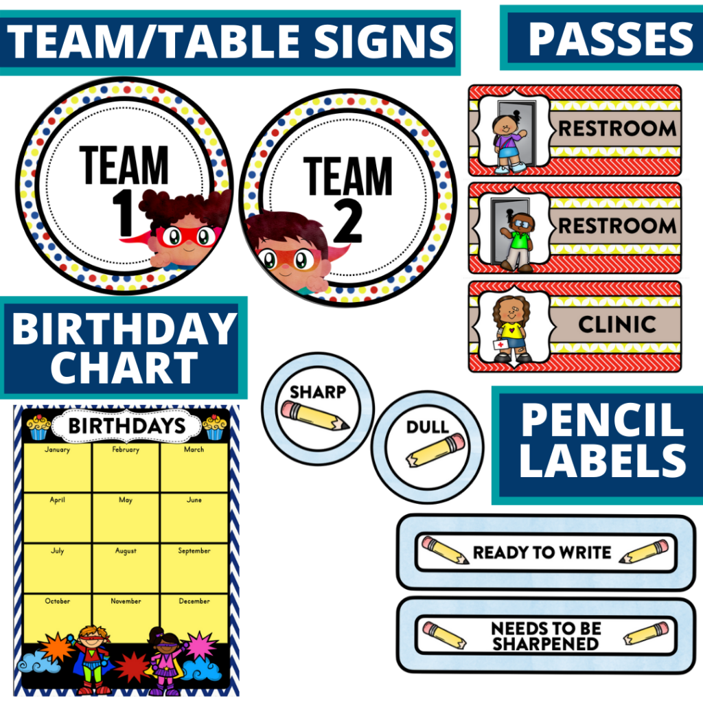printable and editable superheroes theme classroom decor packets