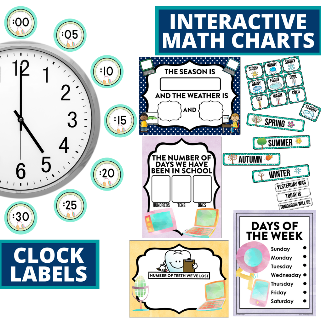technology themed math resources for telling time, place value and the days of the week