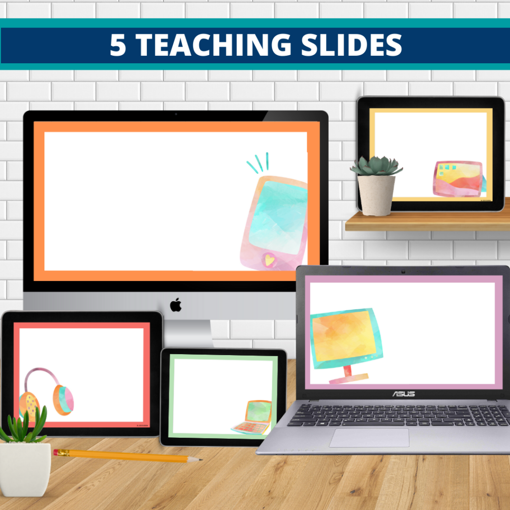 technology theme google classroom slides and powerpoint templates for elementary teachers shown on computers