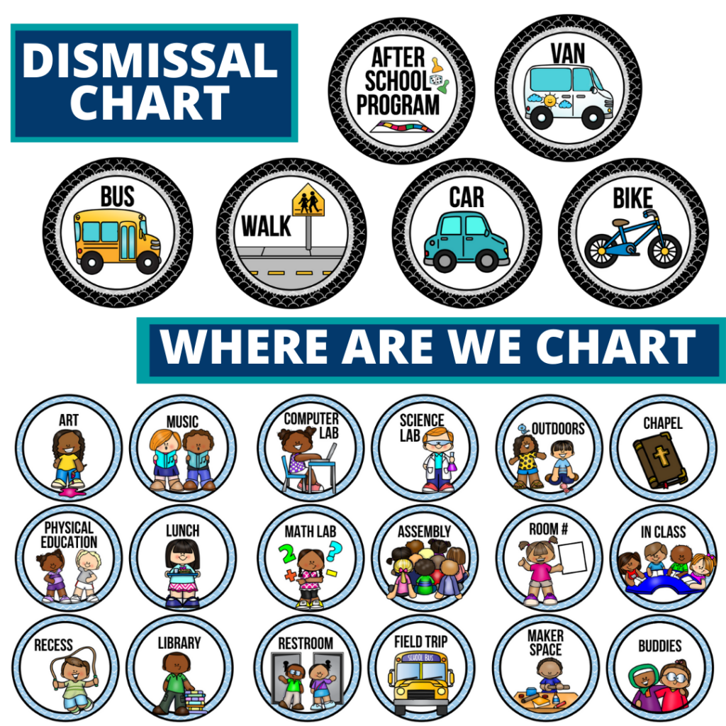 technology theme editable dismissal chart for elementary classrooms with for better classroom