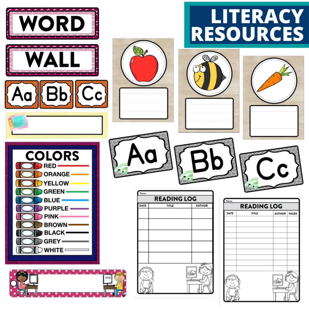 elementary classroom word wall and reading logs for a technology themed classroom