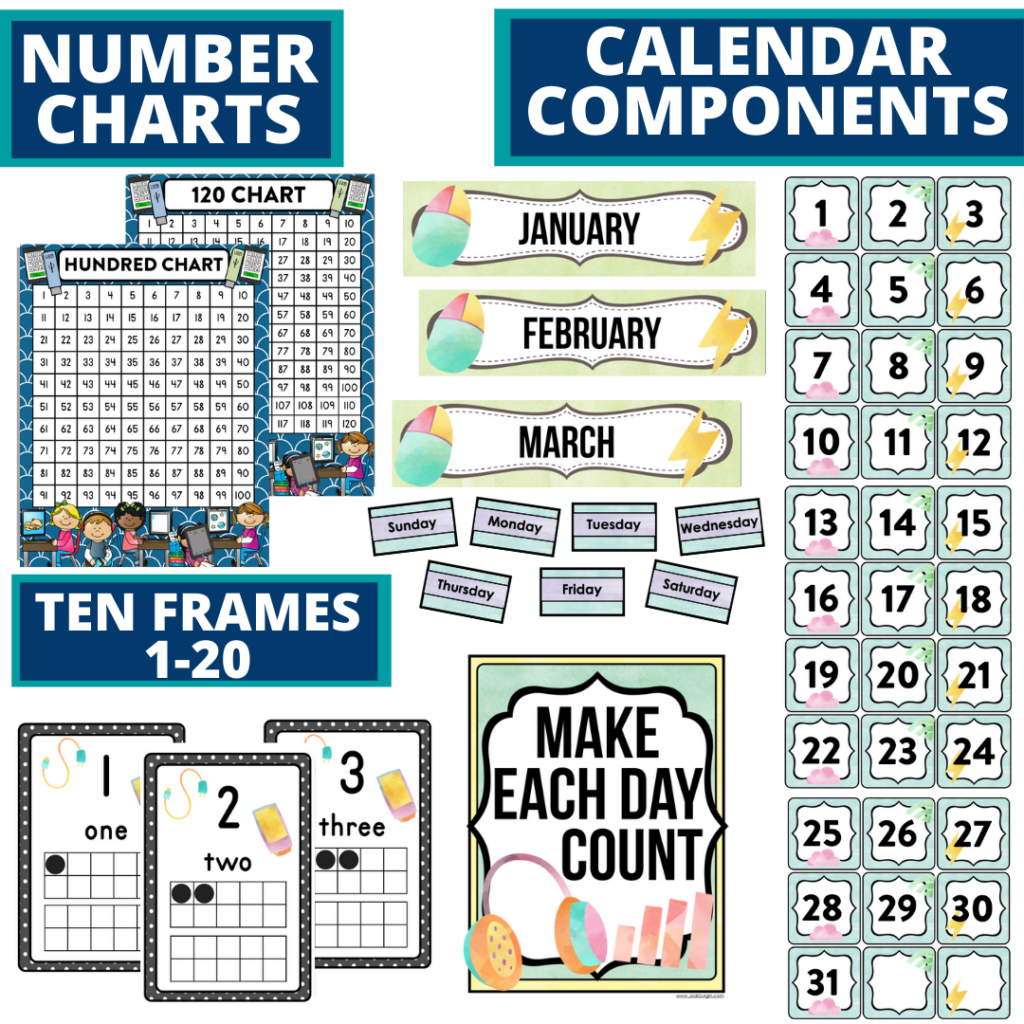 DIY printable classroom calendar for elementary teachers using a technology classroom theme