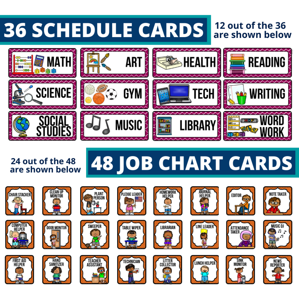editable elementary schedule cards and job chart labels with a technology theme