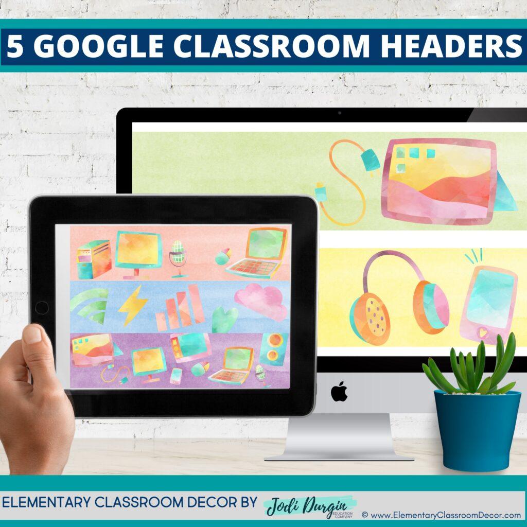 technology classroom themed google classroom headers and google classroom banners