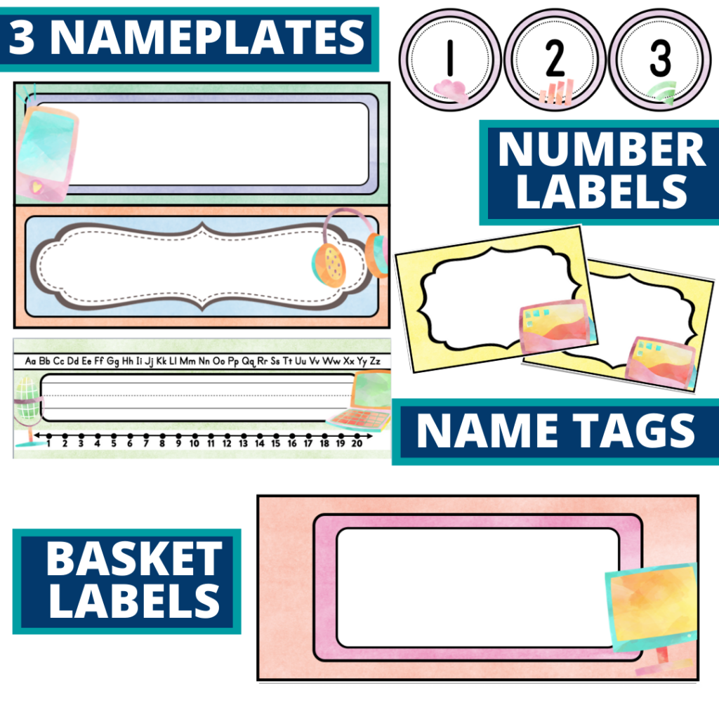 editable nameplates and basket labels for a technology themed classroom