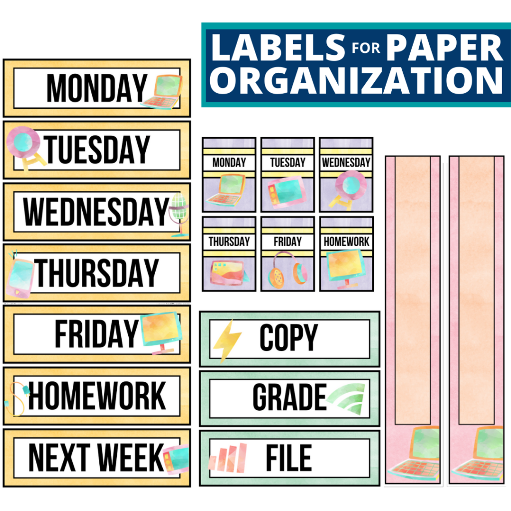 technology theme labels for paper organization in the classroom