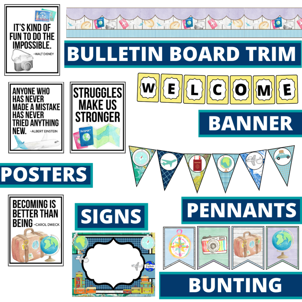 travel theme bulletin board trim with pennants, banner and bunting