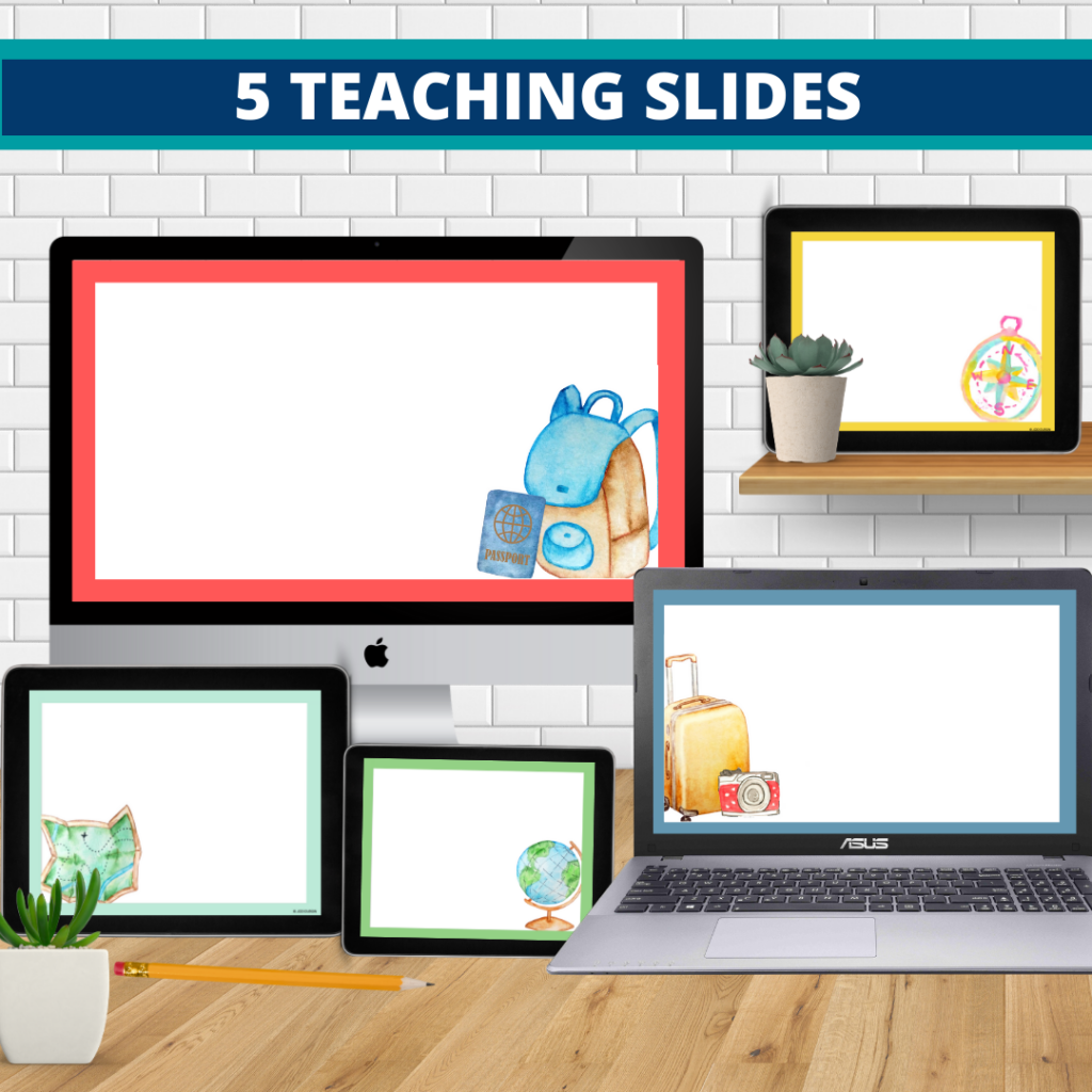 travel theme google classroom slides and powerpoint templates for elementary teachers shown on computers