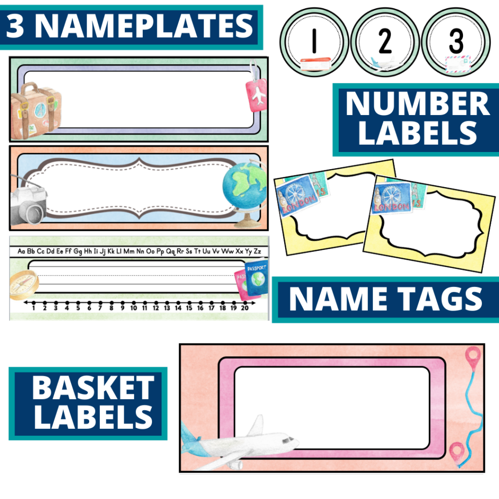 editable nameplates and basket labels for a travel themed classroom