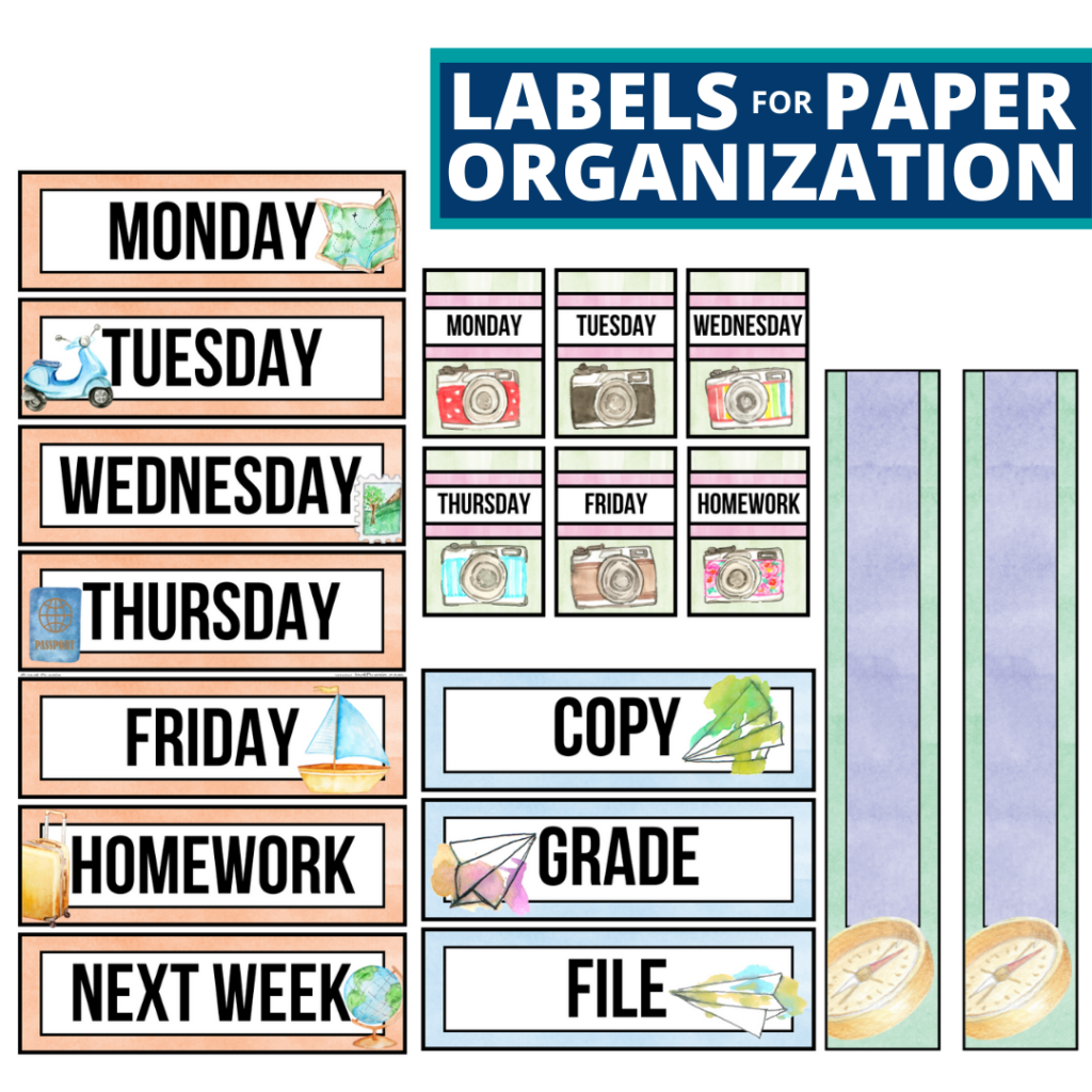 travel theme labels for paper organization in the classroom