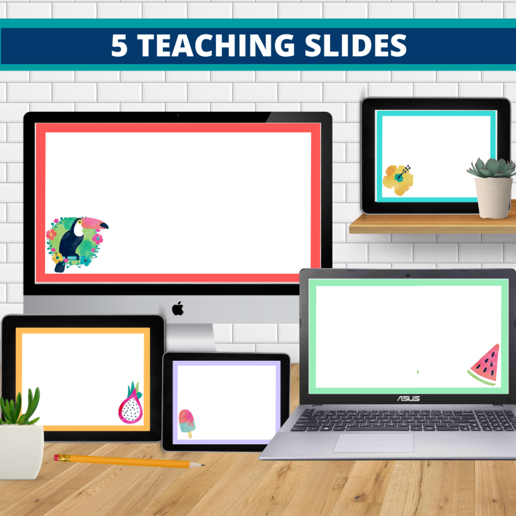 tropical theme google classroom slides and powerpoint templates for elementary teachers shown on computers