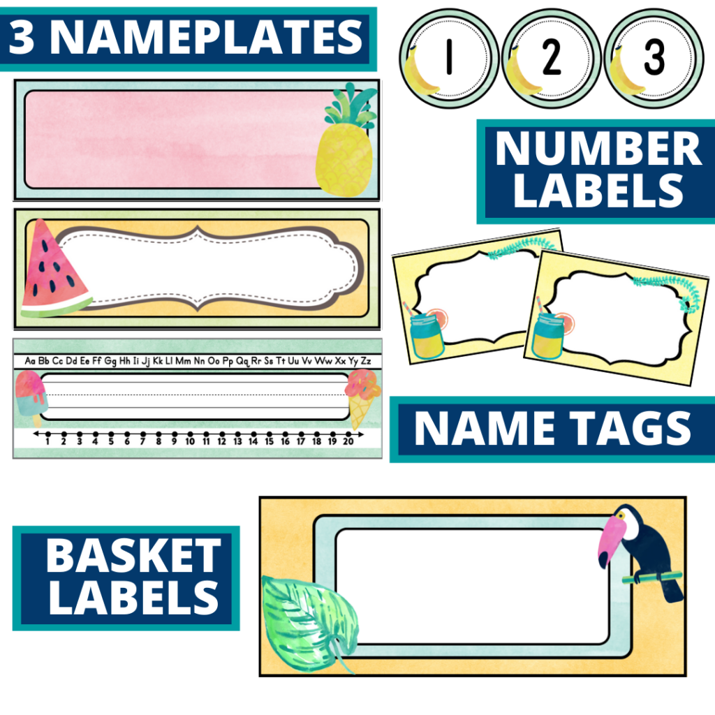 editable nameplates and basket labels for a tropical themed classroom