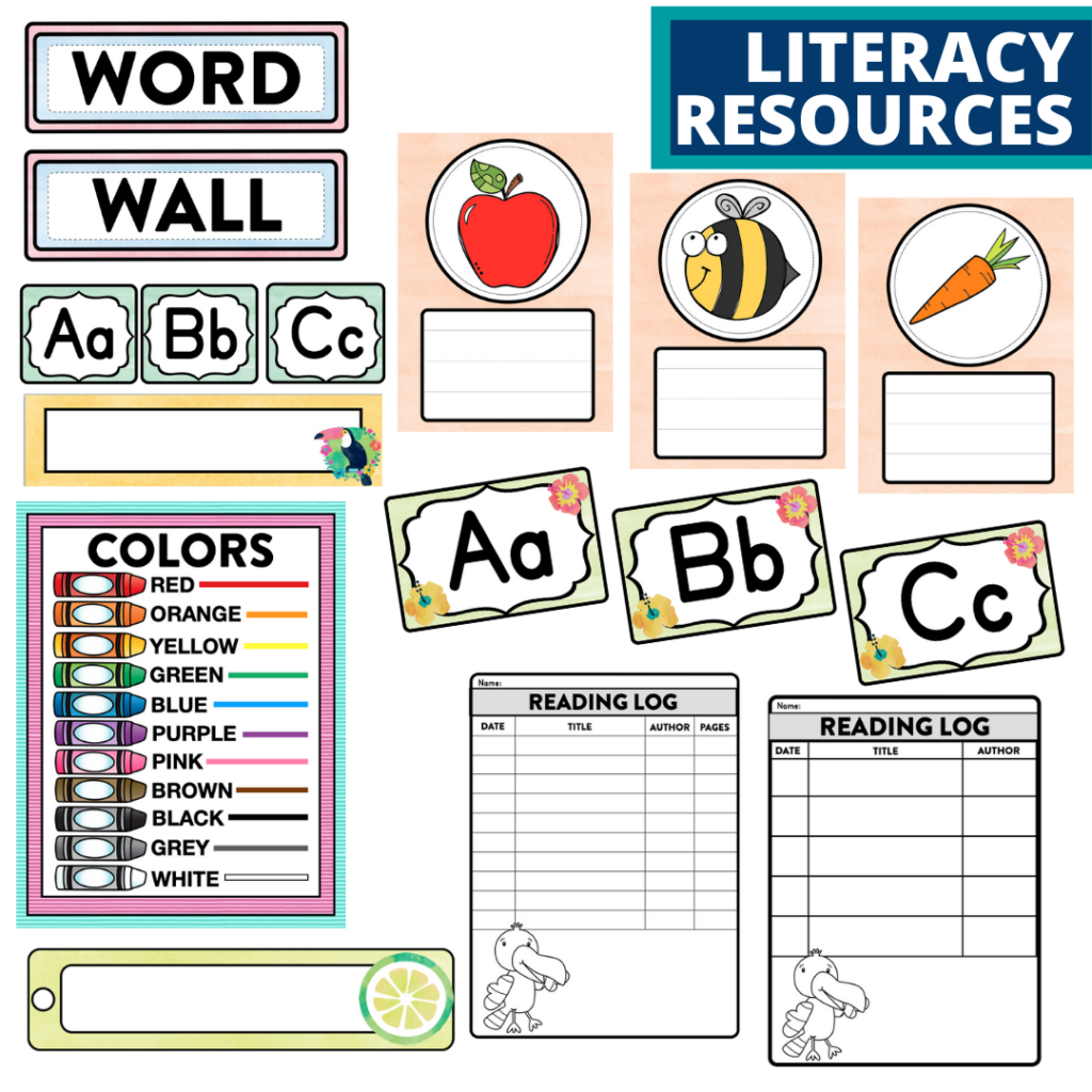 elementary classroom word wall and reading logs for a tropical themed classroom