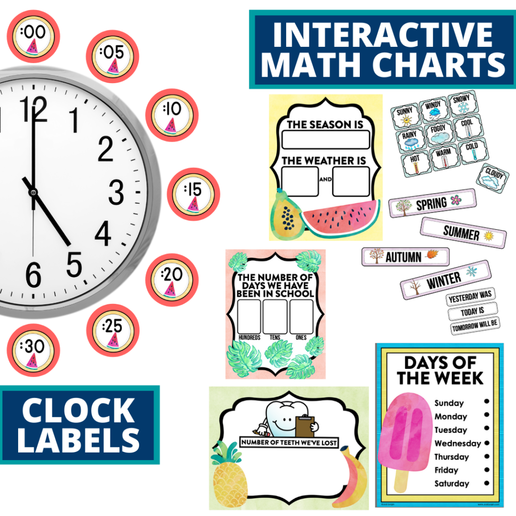tropical themed math resources for telling time, place value and the days of the week