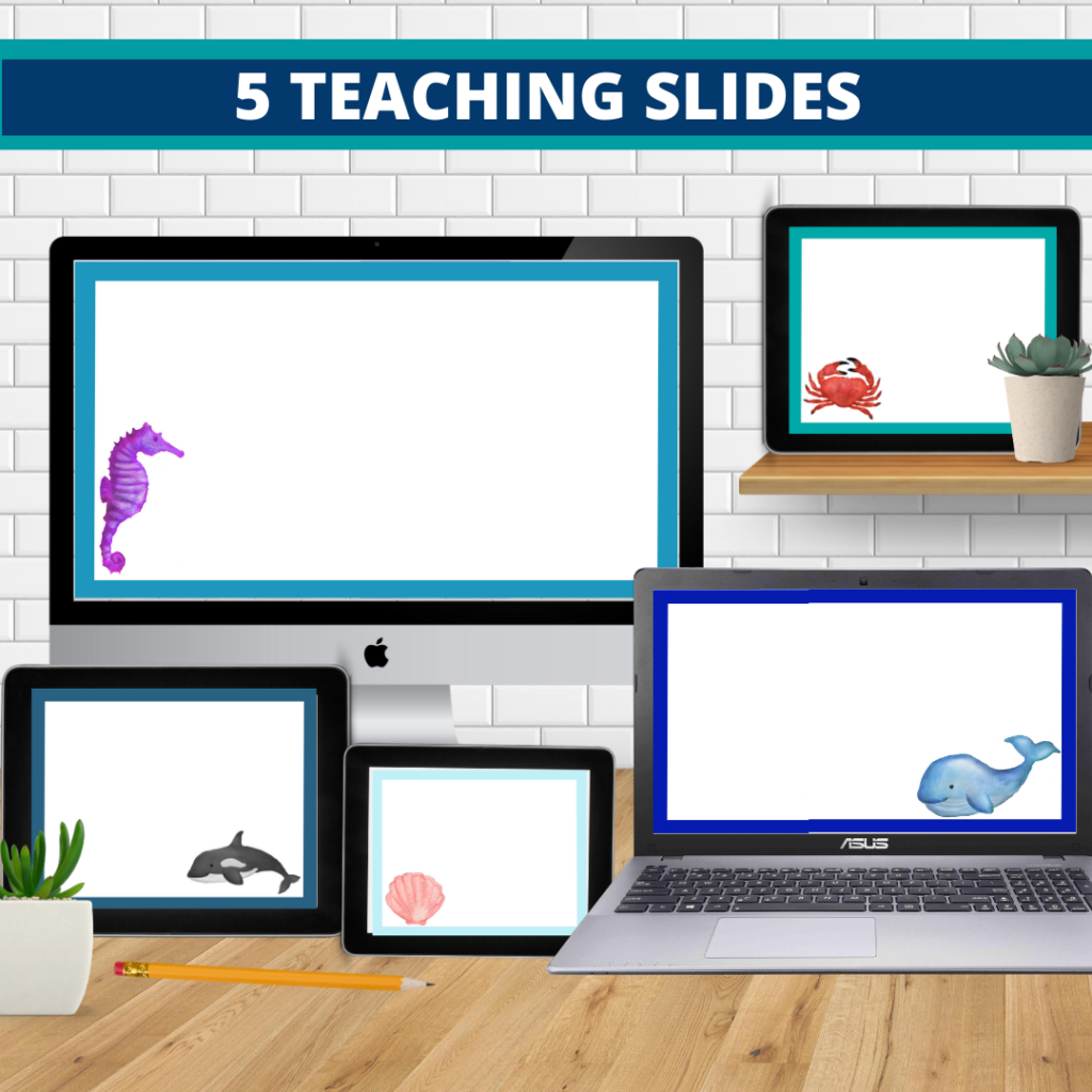 under the sea theme google classroom slides and powerpoint templates for elementary teachers shown on computers