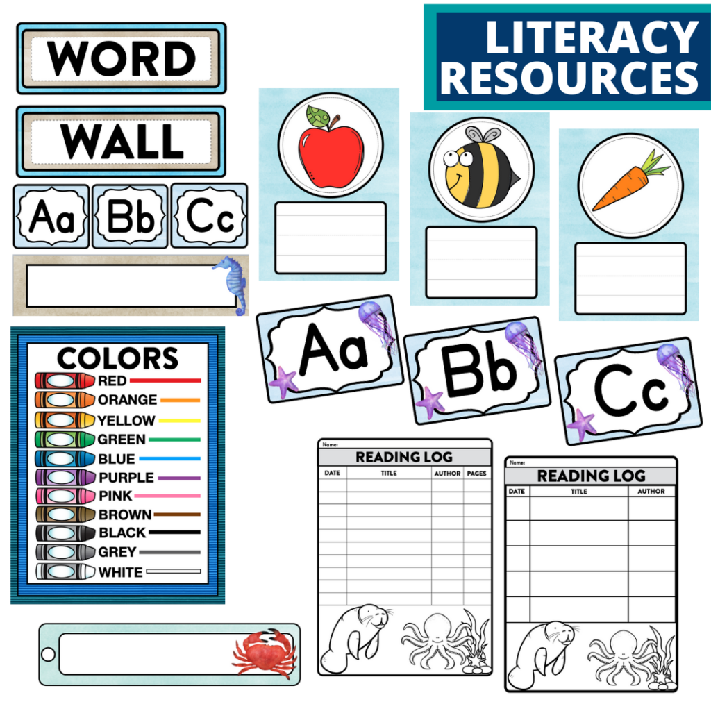 elementary classroom word wall and reading logs for an under the sea themed classroom