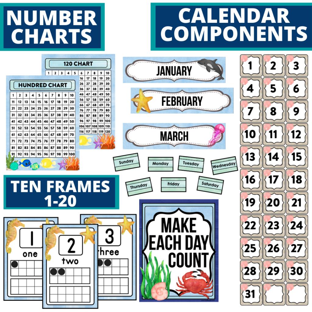 DIY printable classroom calendar for elementary teachers using an under the sea classroom theme