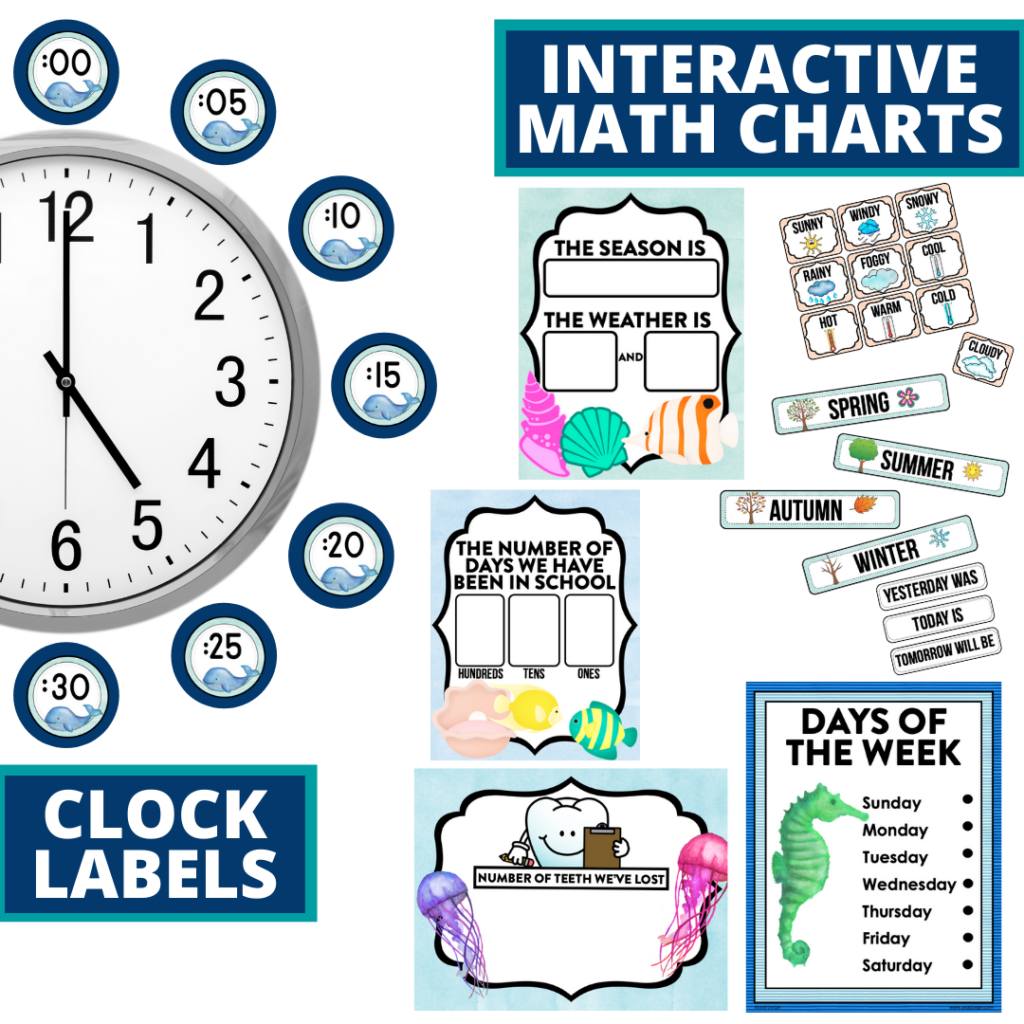 under the sea themed math resources for telling time, place value and the days of the week