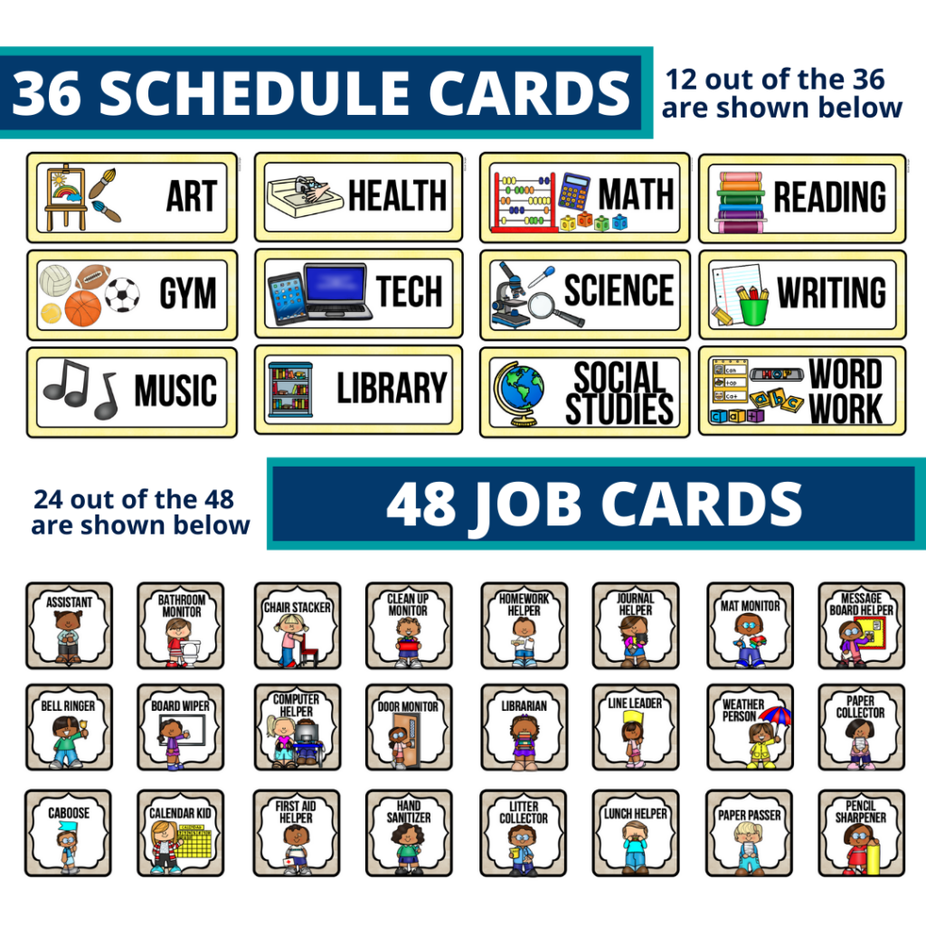 editable elementary schedule cards and job chart labels with a wizard theme