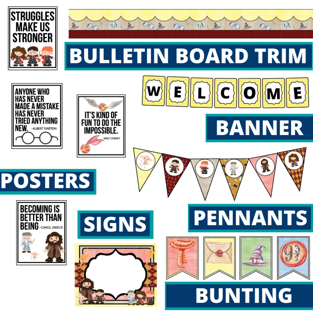 wizard theme bulletin board trim with pennants, banner and bunting