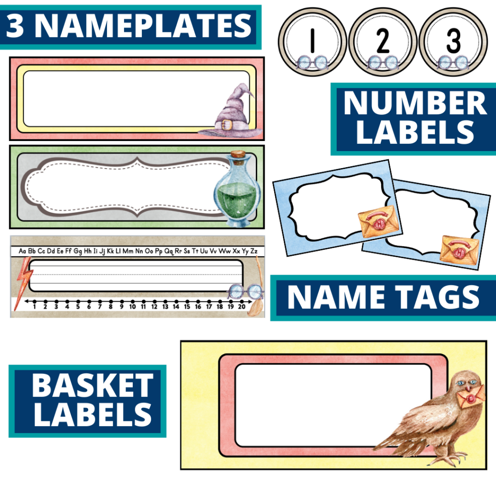 editable nameplates and basket labels for a wizard themed classroom