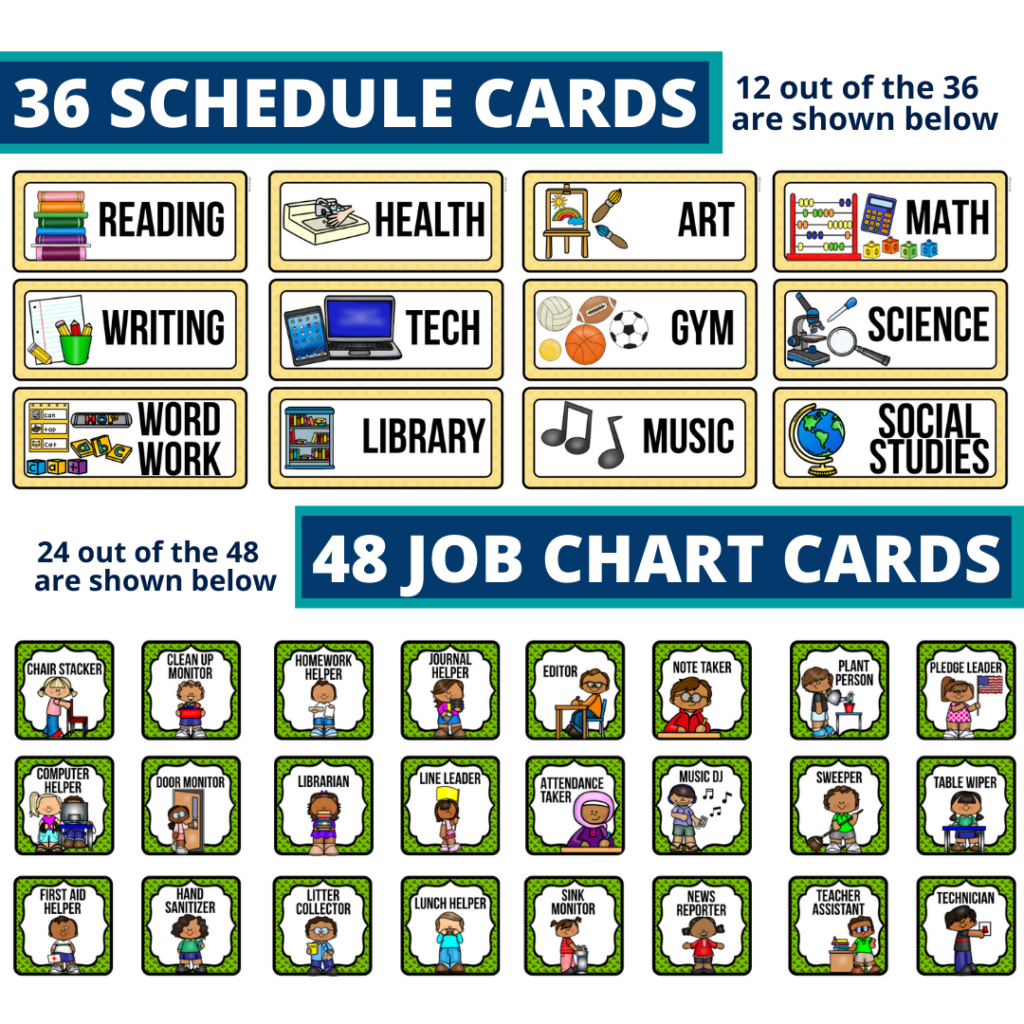 editable elementary schedule cards and job chart labels with a wizard of oz theme
