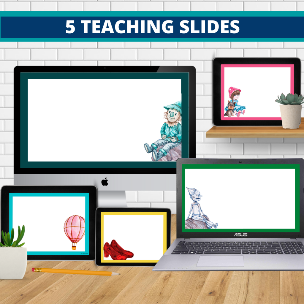 wizard of oz theme google classroom slides and powerpoint templates for elementary teachers shown on computers