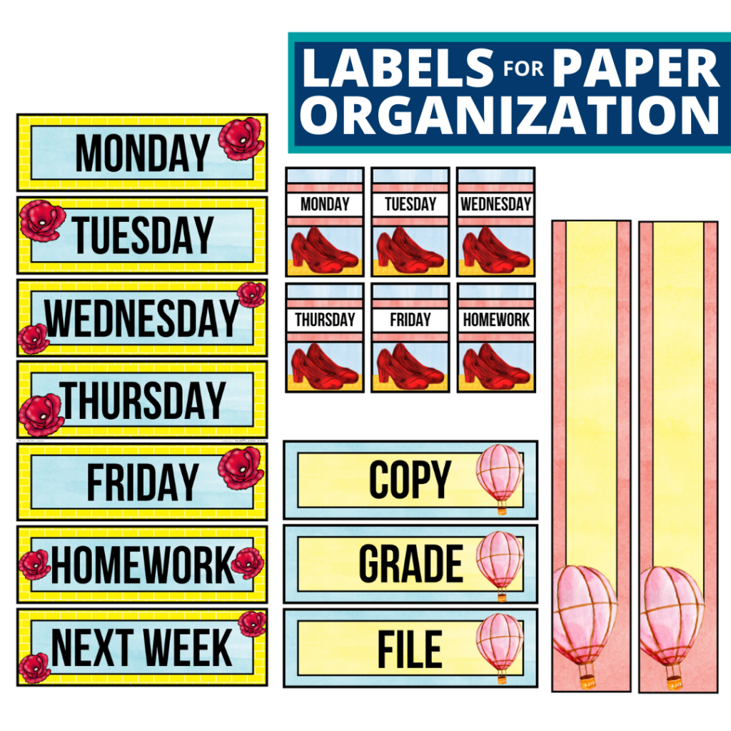 wizard of oz theme labels for paper organization in the classroom