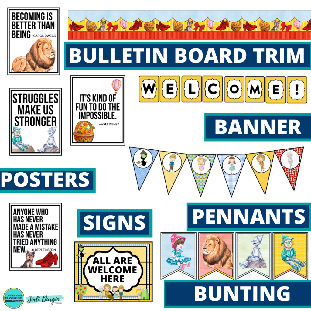wizard of oz theme bulletin board trim with pennants, banner and bunting