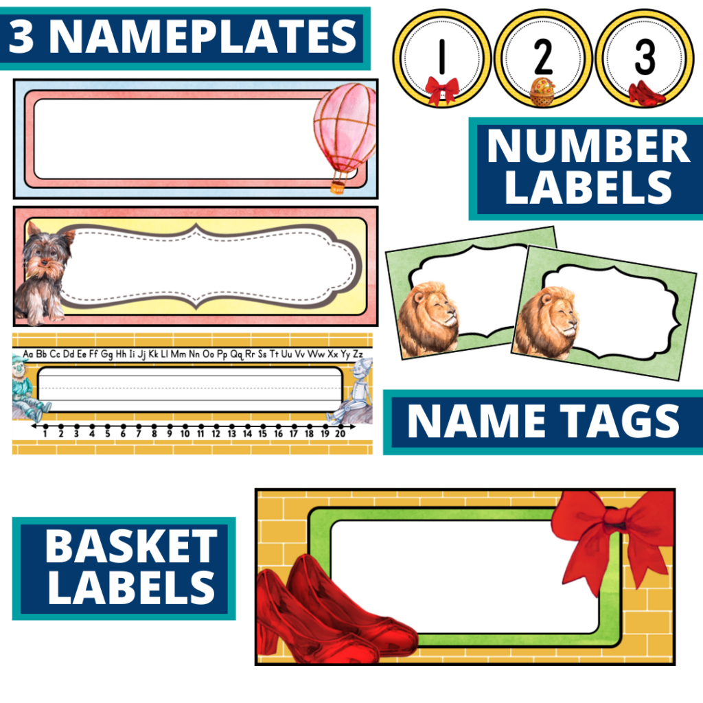 editable nameplates and basket labels for a wizard of oz themed classroom