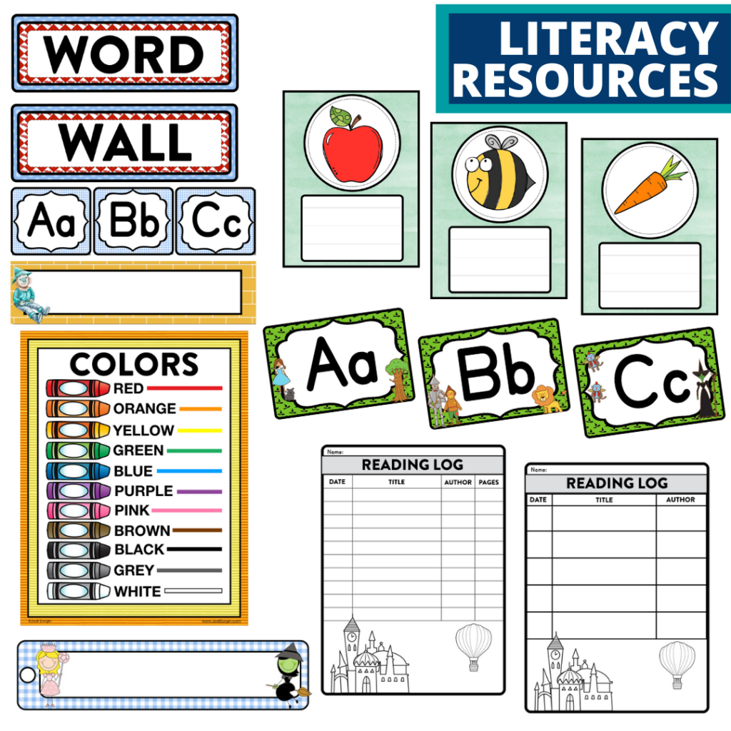 elementary classroom word wall and reading logs for a wizard of oz themed classroom