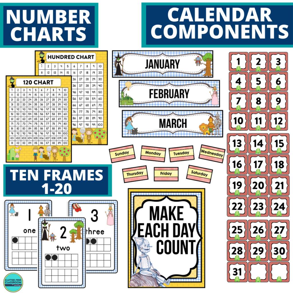 DIY printable classroom calendar for elementary teachers using a wizard of oz classroom theme